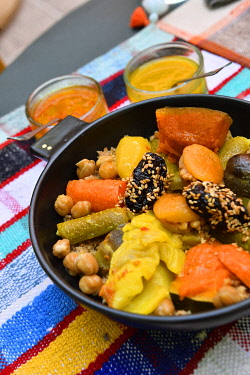 HMS3417457 Morocco, Upper Atlas, Marrakech, Gueliz district, Some slow concept store, bd Mansour Eddahbi, vegetarian coucous