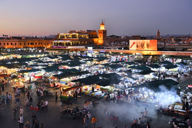 HMS3417587 Morocco, High Atlas, Marrakesh, Imperial City, medina listed as World Heritage by UNESCO, Jemaa El Fna square