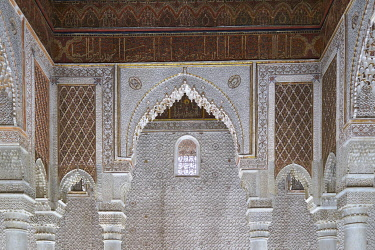 HMS3482282 Morocco, High Atlas, Marrakesh, Imperial City, medina listed as World Heritage by UNESCO, the Saadian tombs, room of the twelve columns