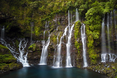 HMS3201990 France, Reunion island, Reunion National Park listed as World Heritage by UNESCO, Saint Joseph, Langevin river on the flank of the Piton de la Fournaise volcano, Grand Galet waterfall or Langevin wate...