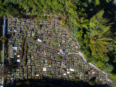 France, Reunion island, Reunion National Park listed as World Heritage by UNESCO, circus of Salazie, Hell Bourg, labeled the Most Beautiful Villages of France, cemetery (aerial view)