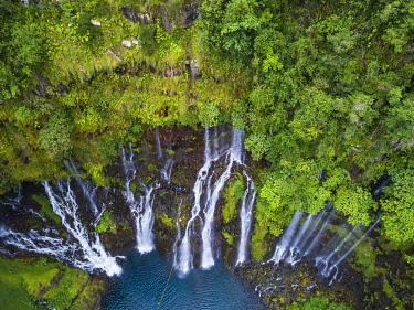 HMS3202029 France, Reunion island, Reunion National Park listed as World Heritage by UNESCO, Saint Joseph, Langevin river on the flank of the Piton de la Fournaise volcano, Grand Galet waterfall or Langevin wate...
