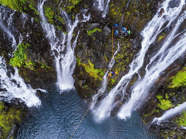 HMS3202031 France, Reunion island, Reunion National Park listed as World Heritage by UNESCO, Saint Joseph, Langevin river on the flank of the Piton de la Fournaise volcano, Grand Galet waterfall or Langevin wate...
