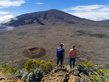 HMS3202035 France, Reunion island, Reunion National Park listed as World Heritage by UNESCO, Piton de la Fournaise volcano, Dolomieu crater (aerial view)