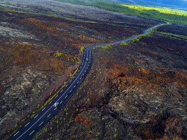 HMS3202041 France, Reunion island, Reunion National Park listed as World Heritage by UNESCO, Piton de la Fournaise volcano, 2007 lava flow (aerial view)