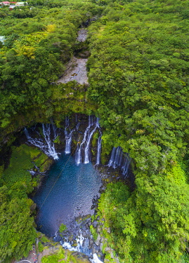 HMS3202049 France, Reunion island, Reunion National Park listed as World Heritage by UNESCO, Saint Joseph, Langevin river on the flank of the Piton de la Fournaise volcano, Grand Galet waterfall or Langevin wate...