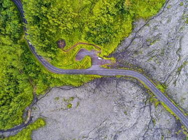 HMS3202068 France, Reunion island, Reunion National Park listed as World Heritage by UNESCO, Piton de la Fournaise volcano, lava flow, Grand Brulé road (aerial view)