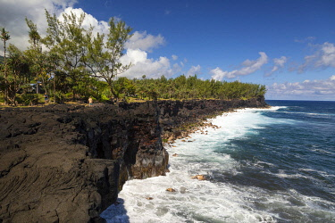 HMS3202104 France, Reunion island, coastline around Saint Philippe, basaltic coast resulting from an ancient lava flow