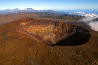 HMS3202178 France, Reunion island, Reunion National Park listed as World Heritage by UNESCO, Piton de la Fournaise volcano, Dolomieu crater (aerial view)