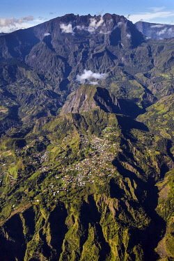 HMS3202179 France, Reunion island, Reunion National Park listed as World Heritage by UNESCO, Piton des Neiges and Salazie circle (aerial view)