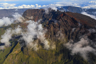HMS3202181 France, Reunion island, Reunion National Park listed as World Heritage by UNESCO, Piton des Neiges (aerial view)