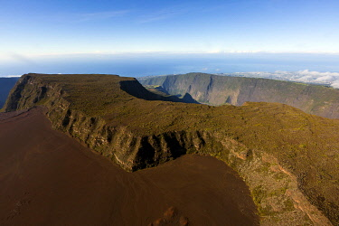 HMS3202183 France, Reunion island, Reunion National Park listed as World Heritage by UNESCO, Piton de la Fournaise volcano, caldera (aerial view)