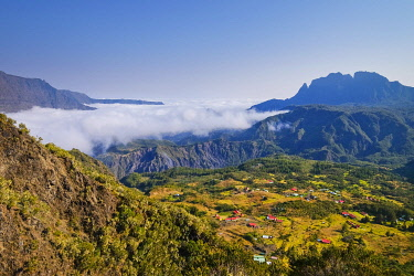 France, Reunion island, Saint Paul, view on Marla, morne de Fourche and Calumets plain, listed as World Heritage by UNESCO