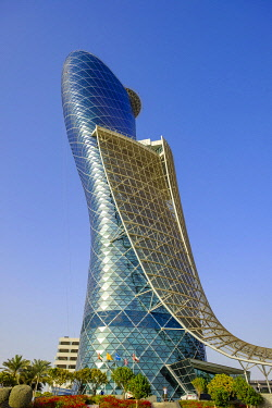 HMS3263539 United Arab Emirates, Abu Dhabi, Capital Centre district, Capital Gate is a 190 meters high leaning skyscraper completed in 2010 and designed by the british agency RMJM, it houses offices and the Hyat...