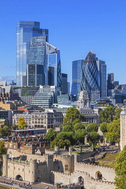 TPX72654 England, London, View of the City of London Skyline and The Tower of London from Tower Bridge