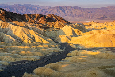 USA14903AWRF Scenic view of natural rock formations at Zabriskie Point during sunrise, Death Valley National Park, Eastern California, California, USA