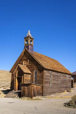 USA14866AW Wooden Bodie Methodist Church in ghost town, Mono County, Sierra Nevada, Eastern California, California, USA
