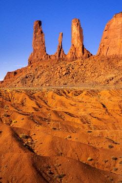 USA14959AW Rock formation named Three Sisters near John Ford Point, Monument Valley, Arizona, USA