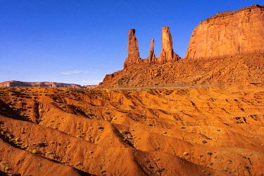 USA14960AW Rock formation named Three Sisters near John Ford Point, Monument Valley, Arizona, USA