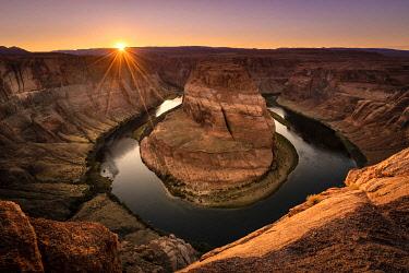 USA14972AW Famous Horseshoe Bend on Colorado river at sunset, Page, Arizona, USA