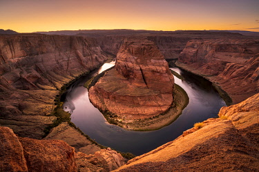 USA14973AW Popular Horseshoe Bend on Colorado river after sunset, Page, Arizona, USA