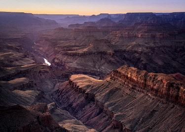 USA14986AW Colorado river flowing through Grand Canyon at sunset, Lipan Point, Grand Canyon National Park, Arizona, USA