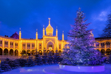 Nimb Hotel in the Tivoli Gardens at Christmas, Copenhagen, Denmark