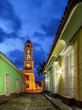 CUB1624AWRF San Francisco Convent Church Tower at dusk, Trinidad, Sancti Spiritus Province, Cuba