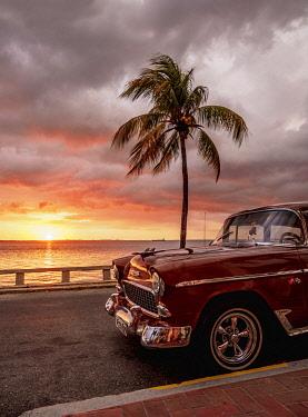 CUB1691AWRF Sunset over Cienfuegos Bay, La Punta, Cienfuegos, Cienfuegos Province, Cuba