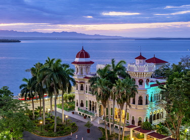 CUB1694AWRF Palacio de Valle at dawn, elevated view, Cienfuegos, Cienfuegos Province, Cuba
