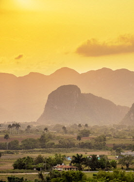CUB1718AWRF Vinales Valley at sunset, elevated view, UNESCO World Heritage Site, Pinar del Rio Province, Cuba