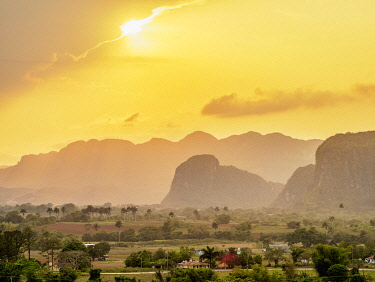CUB1719AWRF Vinales Valley at sunset, elevated view, UNESCO World Heritage Site, Pinar del Rio Province, Cuba