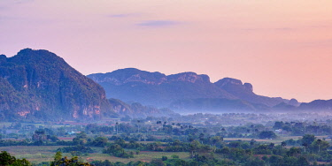 CUB1726AWRF Vinales Valley at sunrise, elevated view, UNESCO World Heritage Site, Pinar del Rio Province, Cuba
