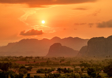 CUB1756AW Vinales Valley at sunset, elevated view, UNESCO World Heritage Site, Pinar del Rio Province, Cuba