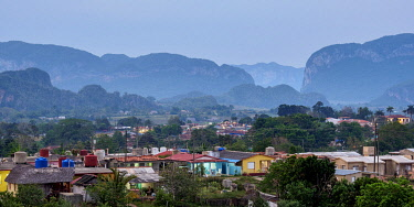 CUB1757AW Vinales Town and Valley at dusk, elevated view, UNESCO World Heritage Site, Pinar del Rio Province, Cuba