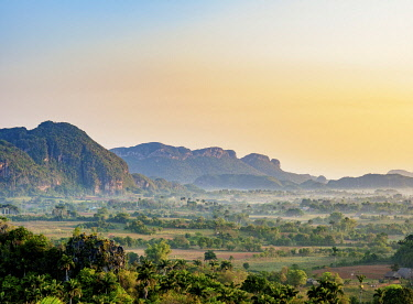 CUB1758AW Vinales Valley at sunrise, elevated view, UNESCO World Heritage Site, Pinar del Rio Province, Cuba