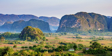 CUB1760AW Vinales Valley at sunrise, elevated view, UNESCO World Heritage Site, Pinar del Rio Province, Cuba