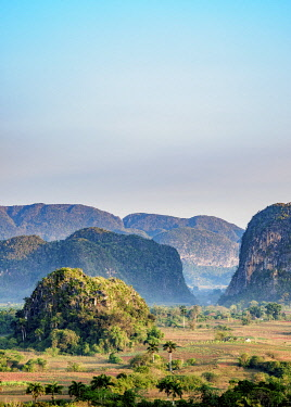CUB1761AW Vinales Valley at sunrise, elevated view, UNESCO World Heritage Site, Pinar del Rio Province, Cuba