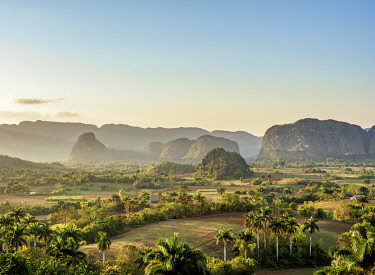 CUB1763AW Vinales Valley at sunset, elevated view, UNESCO World Heritage Site, Pinar del Rio Province, Cuba