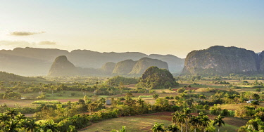 CUB1764AW Vinales Valley at sunset, elevated view, UNESCO World Heritage Site, Pinar del Rio Province, Cuba