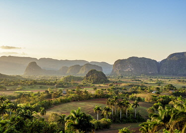 CUB1765AW Vinales Valley at sunset, elevated view, UNESCO World Heritage Site, Pinar del Rio Province, Cuba