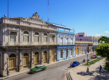 CUB1848AW Casino Espanol and Libertad Square, elevated view, Matanzas, Matanzas Province, Cuba