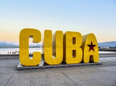 CUB1904AW Cuba Letters at dawn, Santiago de Cuba, Santiago de Cuba Province, Cuba