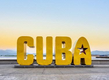 CUB1905AW Cuba Letters at dawn, Santiago de Cuba, Santiago de Cuba Province, Cuba