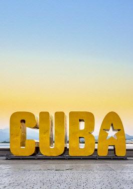 CUB1906AW Cuba Letters at dawn, Santiago de Cuba, Santiago de Cuba Province, Cuba