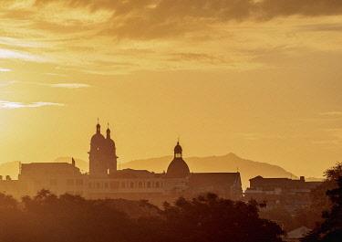 CUB1907AW Cityscape with Nuestra Senora de la Asuncion Cathedral at sunrise, Santiago de Cuba, Santiago de Cuba Province, Cuba
