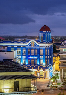 CUB1955AW Convention Center Santa Cecilia at dusk, elevated view, Camaguey, Camaguey Province, Cuba
