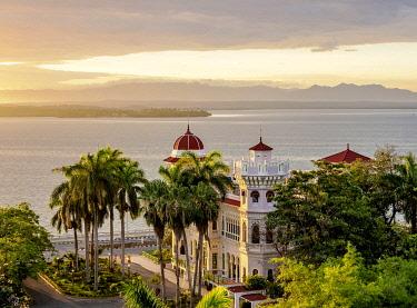 CUB1996AW Palacio de Valle at sunrise, elevated view, Cienfuegos, Cienfuegos Province, Cuba