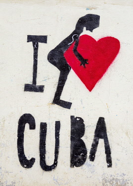 CUB2102AW I love Cuba Mural Painting, La Habana Vieja, Havana, La Habana Province, Cuba