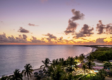CUB2172AW Playa Ancon at sunset, elevated view, Trinidad, Sancti Spiritus Province, Cuba